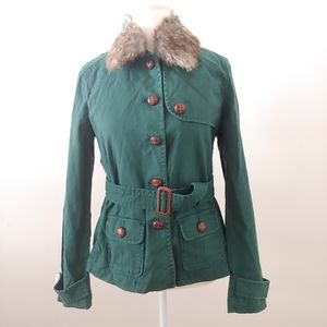 Gap. Jacket with faux fur collar, and belt.